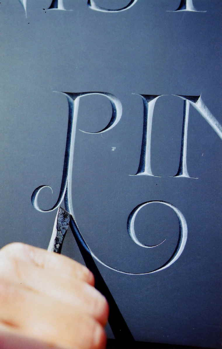 Carving a P in Welsh Slate