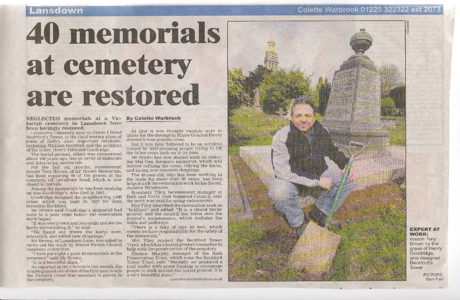 Tony Brown repairs negleted memorial in Lansdown